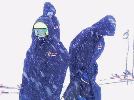 arctica warm up coat on slopes photo
