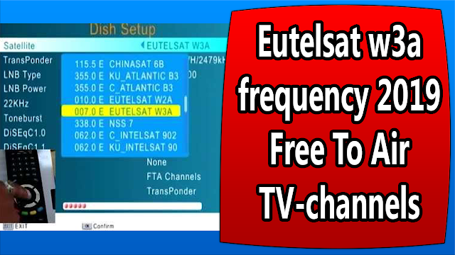 Eutelsat w3a frequency 2019 Free To Air TV-channels