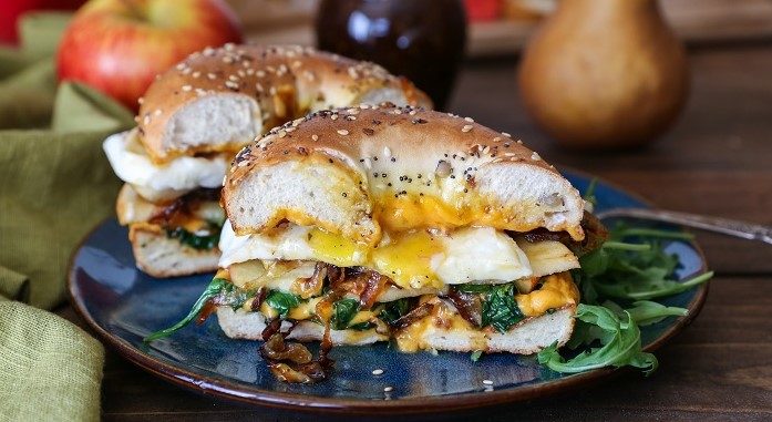 Apple Cheddar Caramelized Onion Grilled Cheese Bagel Sandwich