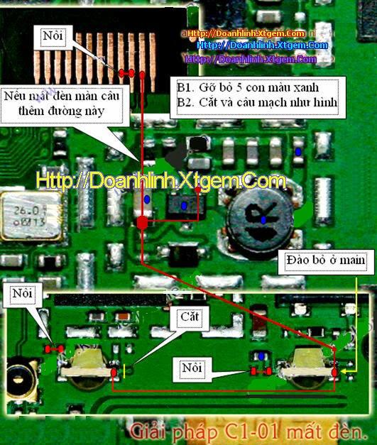 Câu tắt đường đèn màn hình và phím C1-01