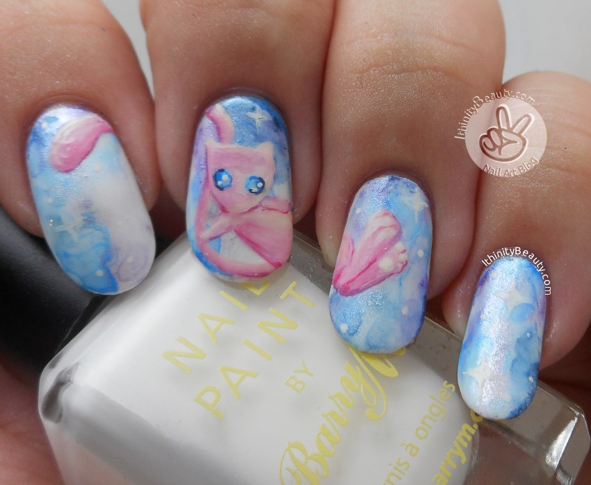 Freehand Pokemon Go Go Go! Mew Nails | IthinityBeauty.com Nail Art Blog