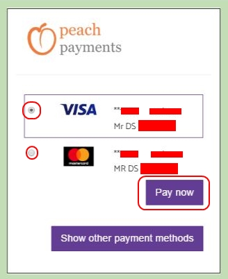 Two Stored Cards - Peach Payments Method - Deposit - Hollywoodbets - Account