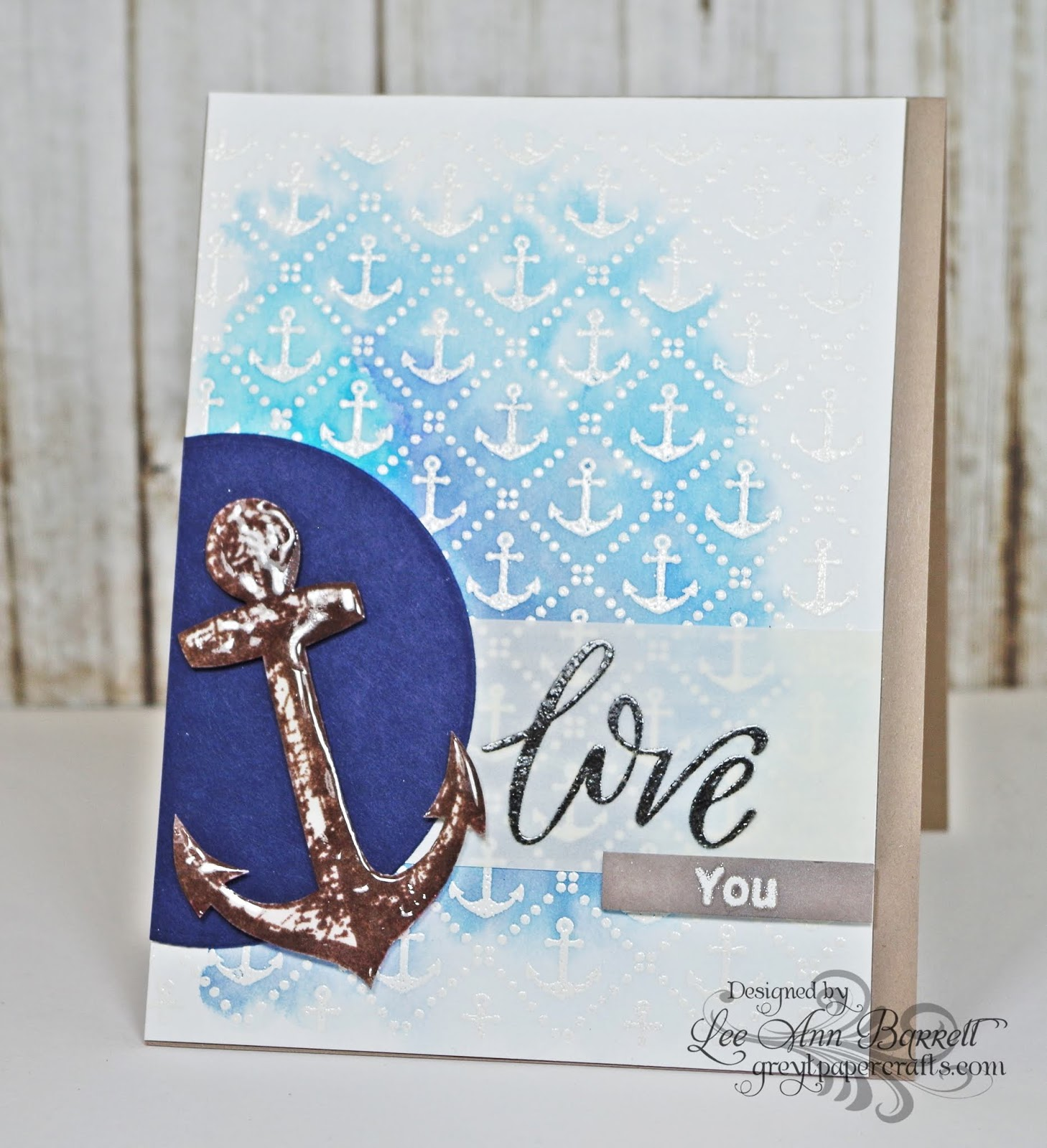 my first card uses the new map collage background stamp and the anchors background stamp