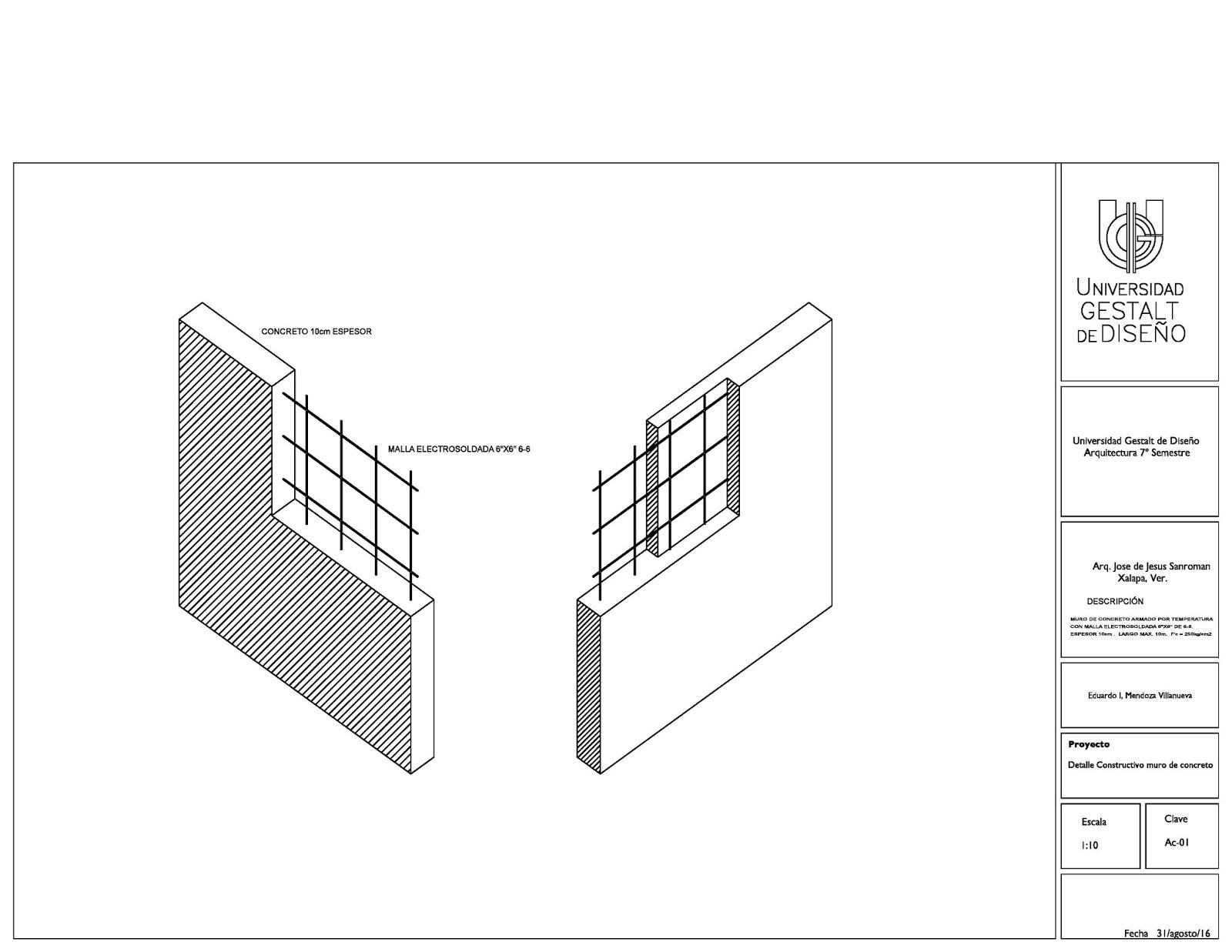 Detalles constructivos de bases para acabados elementos for Muro de concreto armado