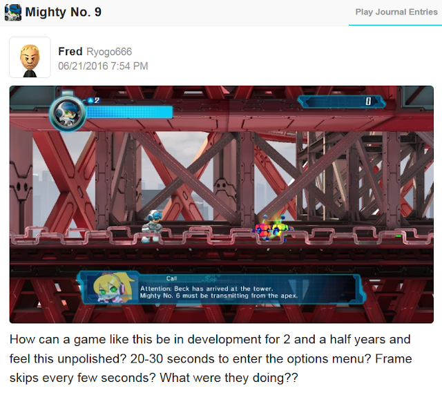 Mighty No. 9 Wii U blowback release unpolished lag load times frame skips