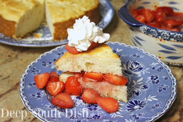 A dense, lightly sweetened cake, perfect for sugar sweetened strawberries and whipped cream.
