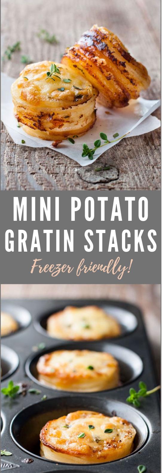 Cheesy Mini Potato Gratin Stacks (Muffin Tin) #Muffin #PartyFood