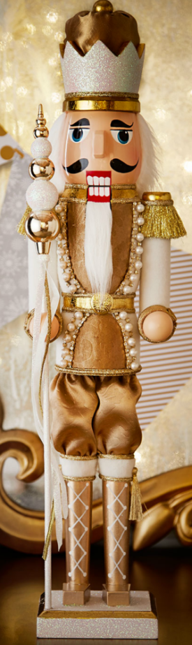 Horchow Winter White & Gold Nutcracker