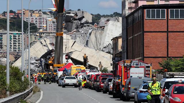 Chega a 39 pessoas mortas, após queda da ponte de Gênova na Itália