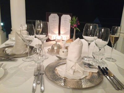 dinner at Grand Dedale Country House, table