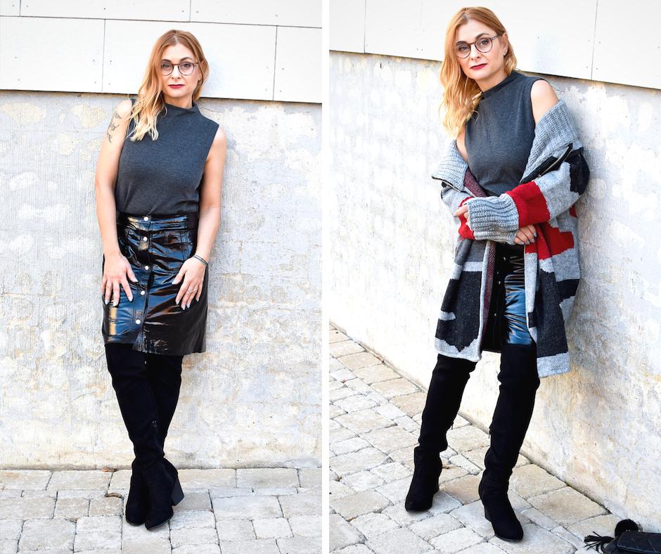 dicker Strickcardigan und Lacklederrock für Frauen