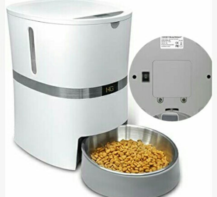 Pet Food Dispenser for Dogs and Cats - HoneyGuaridan Auto Feeder for Small Domestic Animals