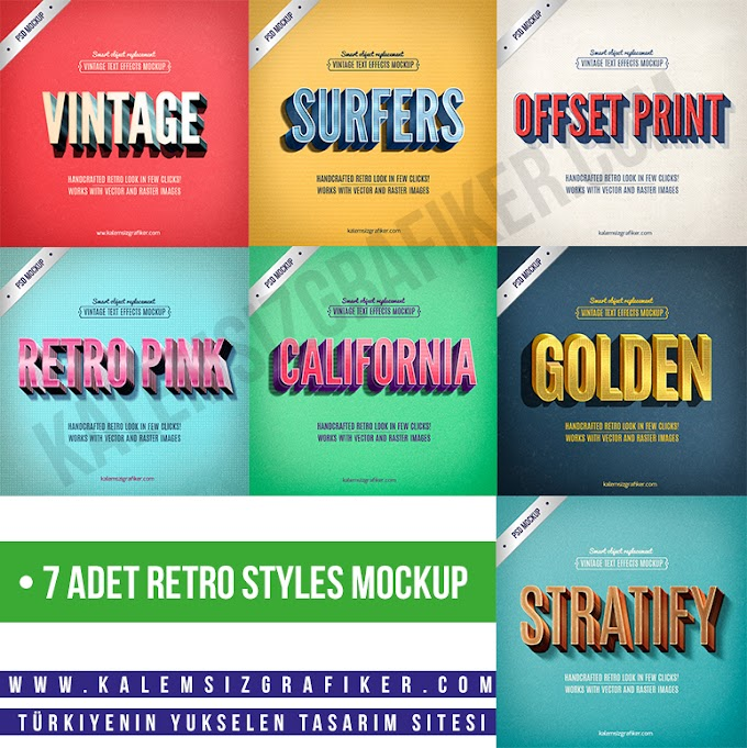 7 Adet Retro Styles Mockup
