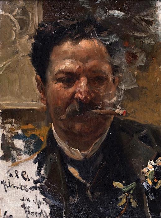 Fumando un puro, Joaquín Sorolla Bastida, Retratos de Joaquín Sorolla, Joaquín Sorolla y Bastida, Joaquín Sorolla, Pintor español, Retratista español, Pintores Valencianos