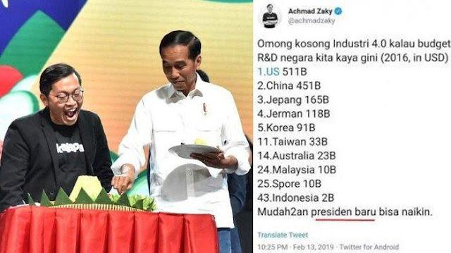 Relawan Prabowo-Sandi: Ungkapan Bos Bukalapak Bentuk Kekecewaan terhadap Rezim