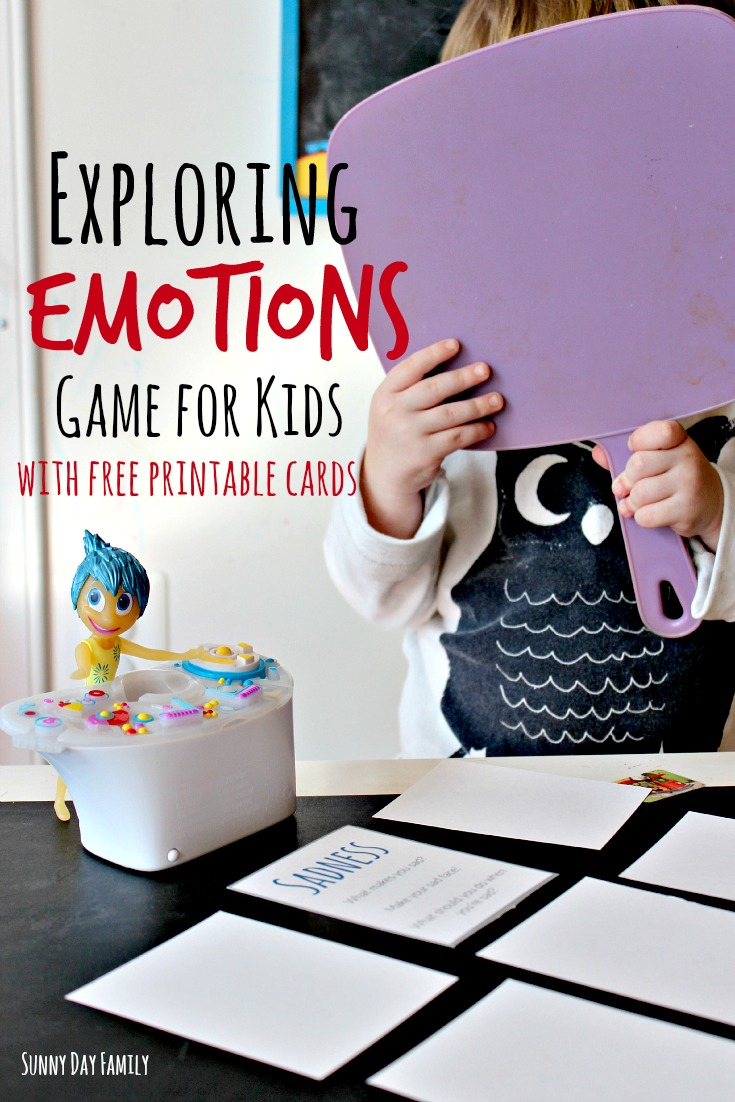 Help toddlers and preschoolers explore their emotions with this fun game inspired by <i>Inside Out</i>! Includes free printable cards.