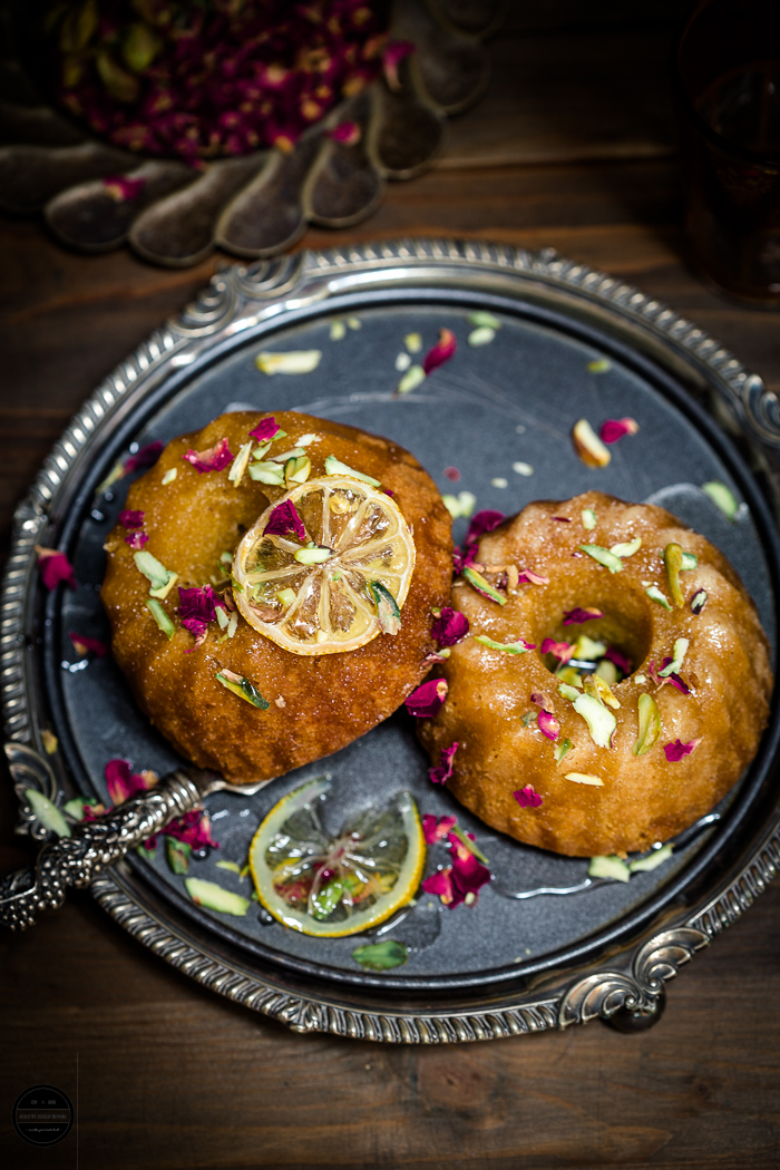 Lemon, Rose and Pistachio Semolina Bundt Cake is eggless and made with basic ingredients.