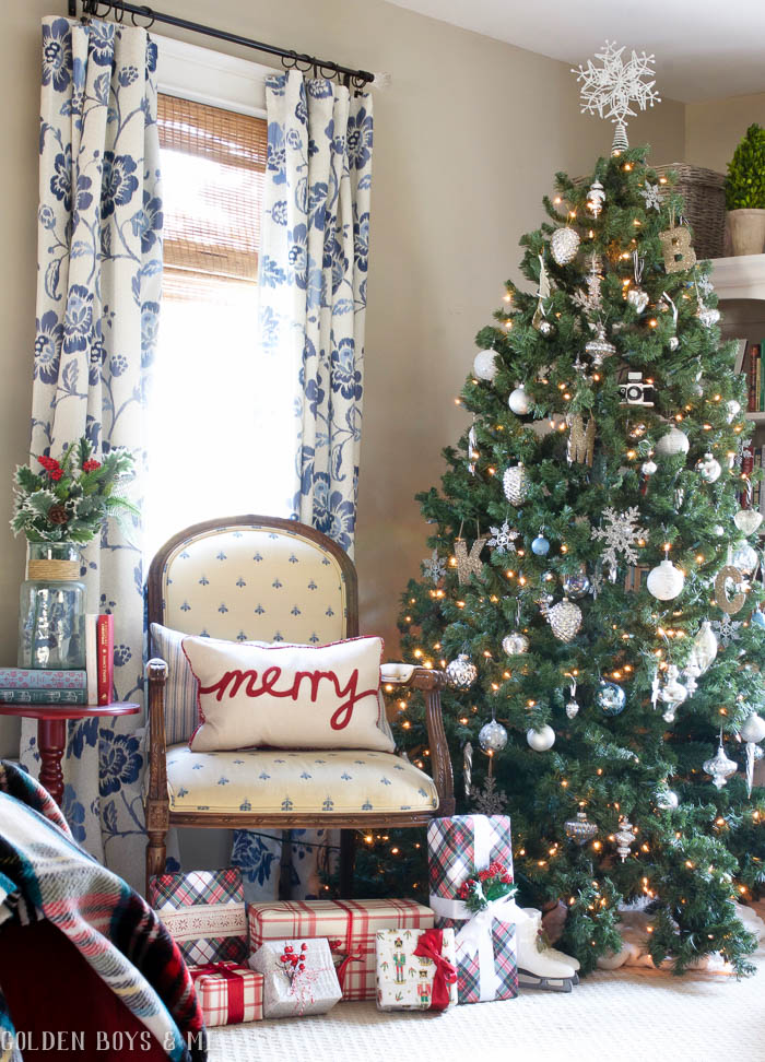 Blue and white master bedroom with holiday decor