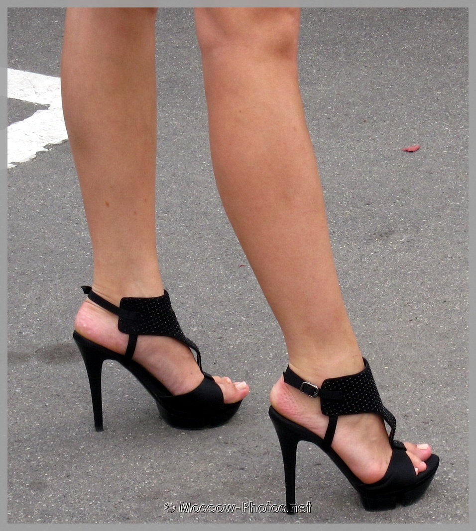 Elegant black high heeled shoes