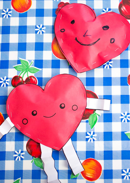 Adorable Paper Heart Stuffies for Valentine's Day- Kids craft that's also Perfect for filling with candy and giving to a friend!