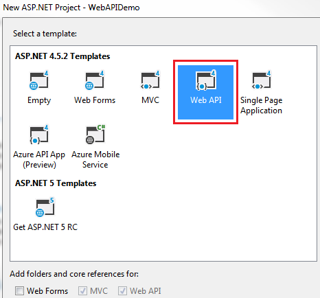 Sql server,  net and c# video tutorial: Creating a Web API Project