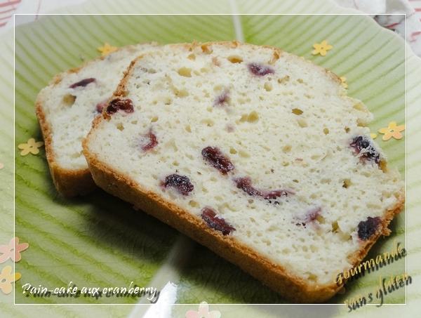 Pain cake sans gluten aux cranberry