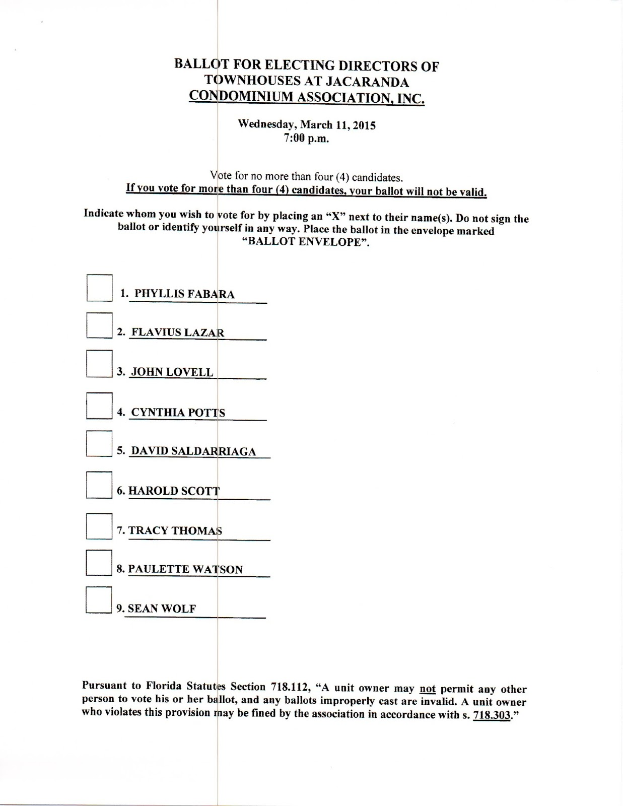 Tajwatch blog voting package for taj board of directors for Voting slips template