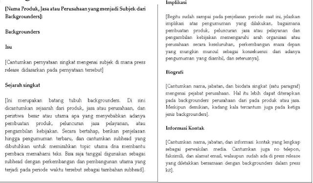 format backgrounder, penulisan backgrounder