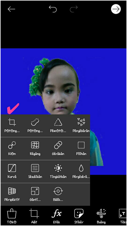 edit background pas photo di HP