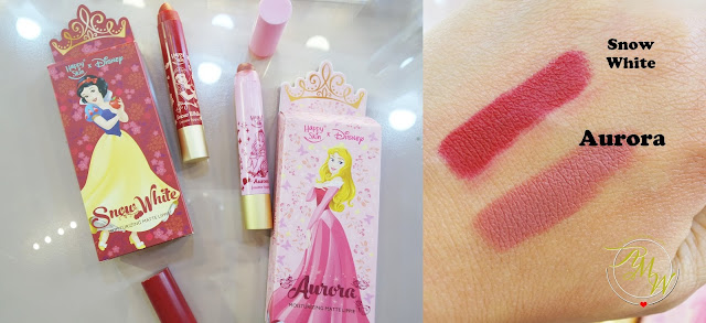 a photo of Happy Skin X Disney Princess Moisturizing Matte Lipsticks  Snow White and Aurora swatch