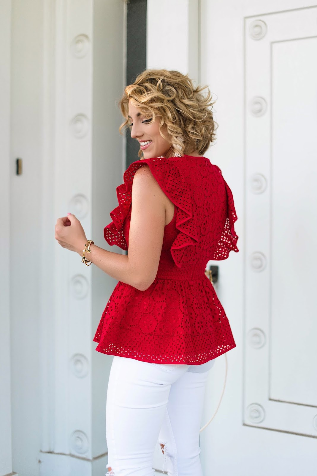 Under $100 Eyelet Peplum Top - Something Delightful Blog