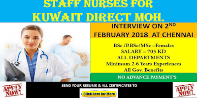 STAFF NURSES FOR KUWAIT DIRECT MOH 2018 - NO ADVANCE PAYMENTS