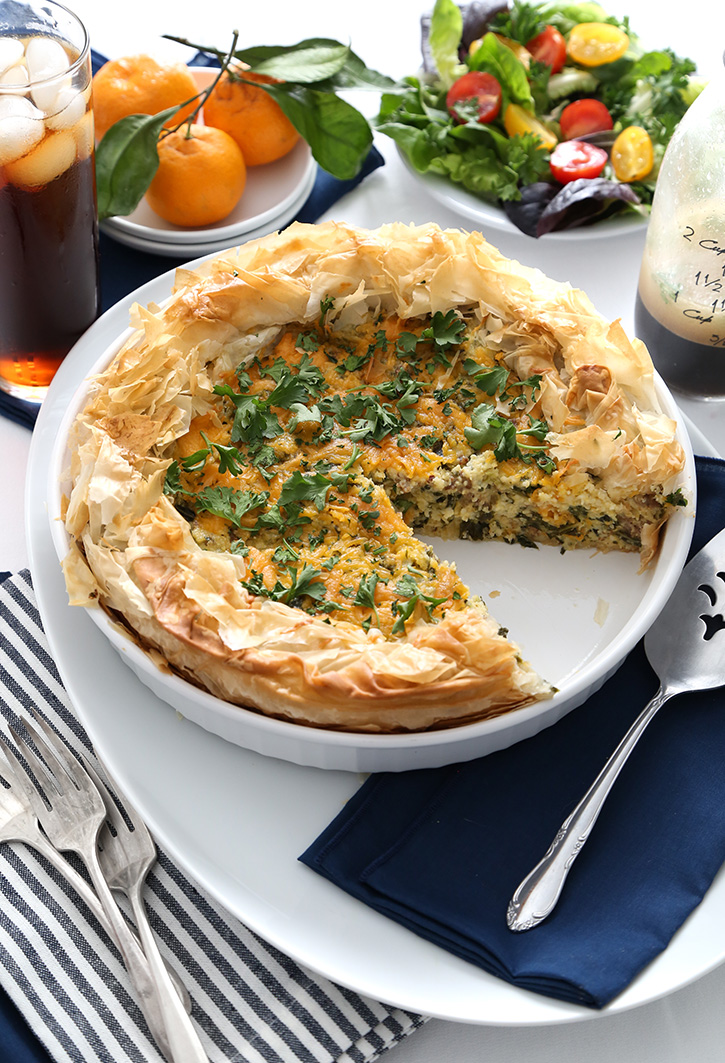Grits Quiche in Filo Crust with Sausage and Kale