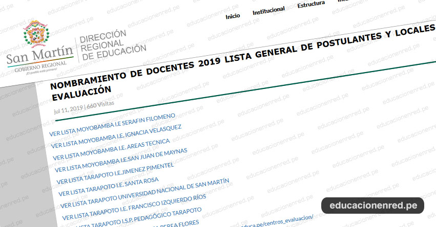 NOMBRAMIENTO DOCENTE 2019: Centros de Evaluación en la Región San Martín (Prueba Única Nacional 21 Julio) www.dresanmartin.gob.pe