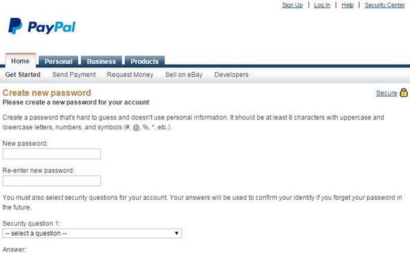 change paypal password