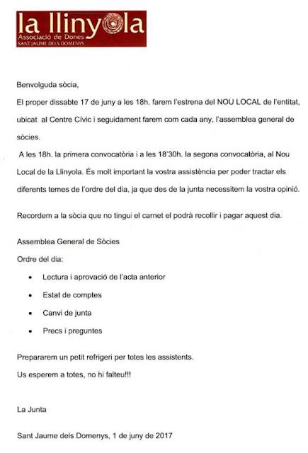 Esguard de Dona - Convocatòria Assemblea General La Llinyola, Associació de Dones de Sant Jaume dels Domenys