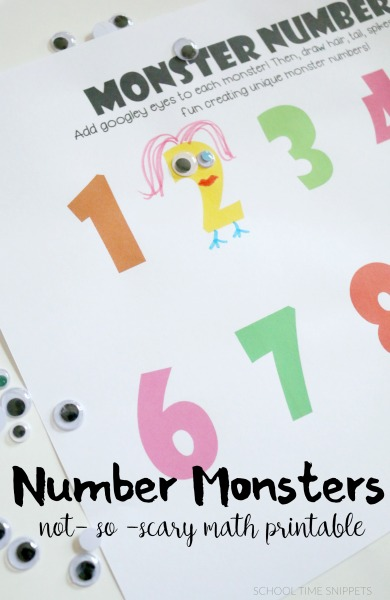 FREE Number Monsters Math Printable School Time Snippets