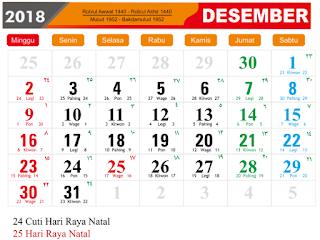 Template Kalender 2018 format JPG dan PNG dengan Kuliatas HD