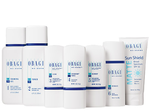The Obagi Nu-Derm System benefits of Skin, toner, cream, suncreen