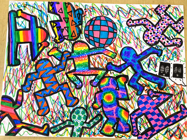 Paintbrush rocket 4th grade keith haring crazy art folders for Keith haring figure templates