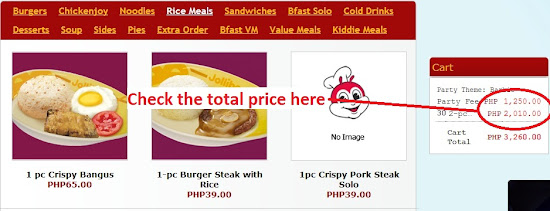 Showing total cost for Jollibee party meal