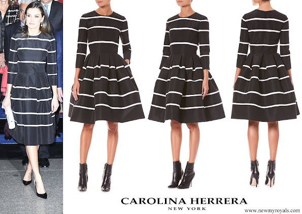 Queen Letizia wore Carolina Herrera Three-Quarter Sleeve Fit-and-Flare Striped Cocktail Dress
