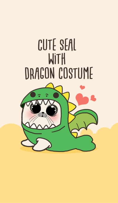 Cute seal with dragon costume