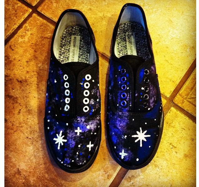 868da813b829 Galaxy painted shoes! I am border lined obsessed with the galaxy print  design right now and was inspired to turn my plain black shoes (from  Target) into ...