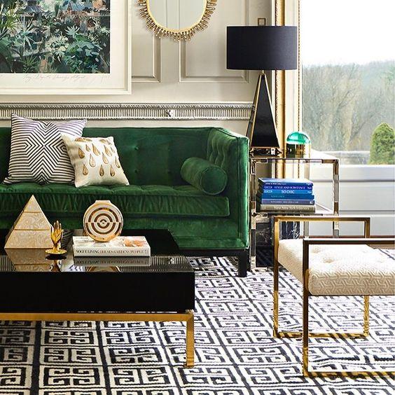 green velevet sofa