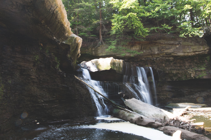 urban waterfall, ohio, waterfall, bedford reservation