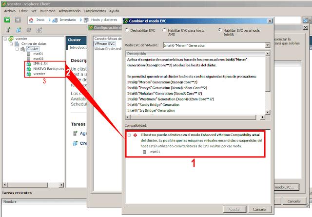 El host no puede admitirse en el modo Enhanced vMotion Compatibility actual del clúster. Es posible que las máquinas virtuales encendidas o suspendidas del host estén utilizando características de CPU ocultas por este modo.