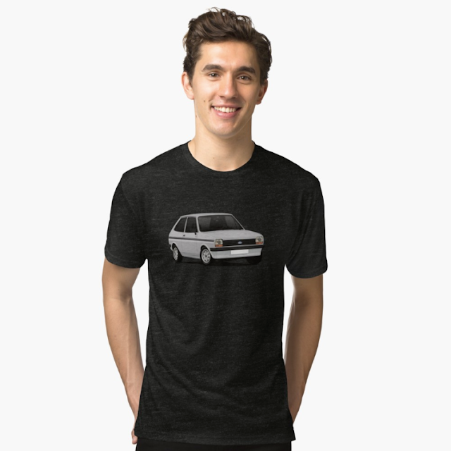 Ford Fiesta Mk1 T-shirts - gray - classic car