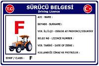 F Sınıfı Sürücü Belgesi Ehliyet