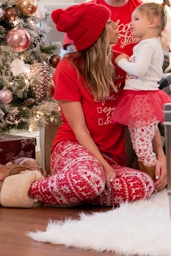 red and white pajamas mommy daughter parlor girl